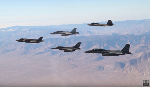 Watch All Five of the U.S. Military's Fighter Jets Fly in Formation