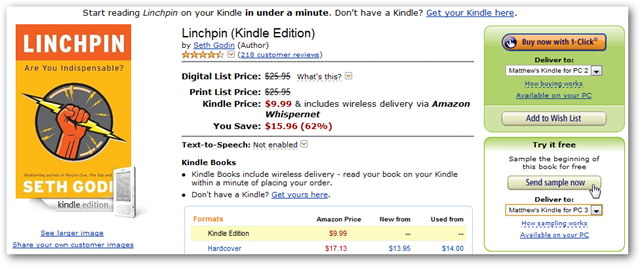 Preview and Purchase Ebooks with Kindle for PC